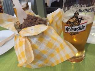 Pyzy and Królewskie beer in Pyzy, flaki gorące